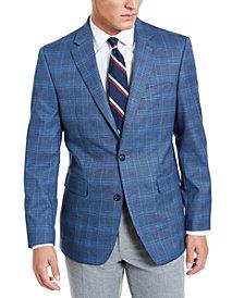 Tommy Hilfiger Men's Modern-Fit THFlex Stretch Blue Plaid Sport Coat