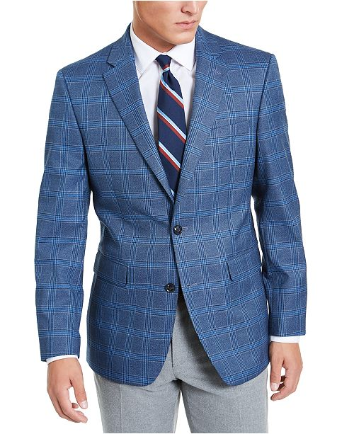 Tommy Hilfiger Men's Modern-Fit THFlex Stretch Blue Plaid Sport Coat