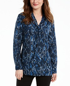 Nine West Tie-Neck Snake-Print Blouse