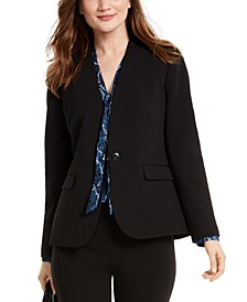 One-Button Collarless Jacket