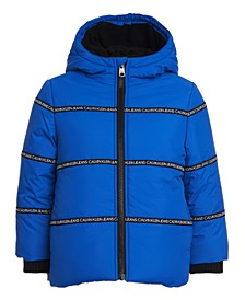 Toddler Boys Hooded Logo-Tape Bubble Jacket