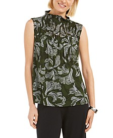 Printed Smocked Mock-Neck Top, Created for Macy's