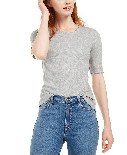 Maison Jules Crewneck Elbow-Sleeve Top, Created for Macy's