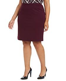 Plus Size Back-Slit Pencil Skirt