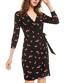 Printed Sheath Wrap Dress