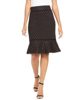 LAUREN RALPH LAUREN Polka-Dot Silk Skirt Blue w// White Dots 16W 18W NWT $169