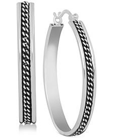 Silver-Tone Center Chain Hoop Earrings