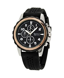 Men's Analog Quartz Black Rubber Strap Watch 27mm