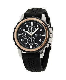 American Exchange Men's Analog Quartz Black Rubber Strap Watch 27mm