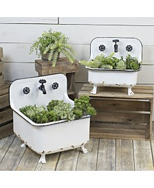 VIP Home & Garden 2-Piece and Metal Wash Basin Planters