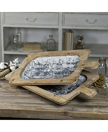 VIP Home & Garden 2-Piece and Wood and Metal Trays