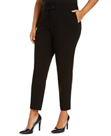 Calvin Klein Plus Size Stretch-Waist Ankle Pants