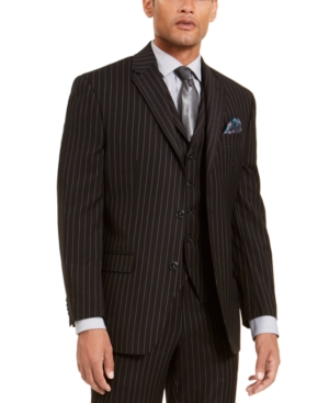 1940s Zoot Suit History & Buy Modern Zoot Suits Sean John Mens Classic-Fit Stretch Black Pinstripe Suit Separate Jacket $89.99 AT vintagedancer.com
