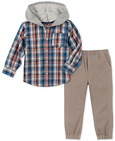 Baby Boys 2-Pc. Hooded Plaid Shirt & Pants Set