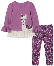 Kids Headquarters Baby Girls 2-Pc. Llama Tunic & Floral-Print Leggings Set
