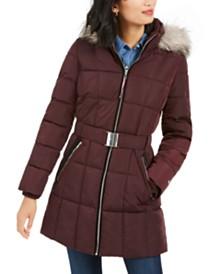 Tommy Hilfiger Belted Faux-Fur Trim Hooded Puffer Coat