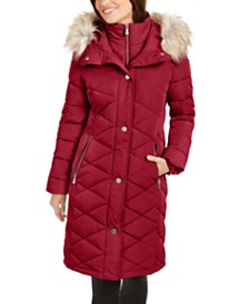 Calvin Klein Diamond-Quilt Faux-Fur Trim Hooded Puffer Coat