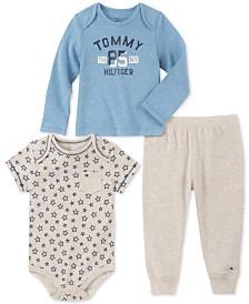 Tommy Hilfiger Baby Boys 3-Pc. Bodysuit, T-Shirt & Jogger Pants Set