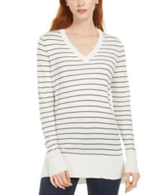 Maison Jules Skinny-Striped Pullover Sweater, Created for Macy's