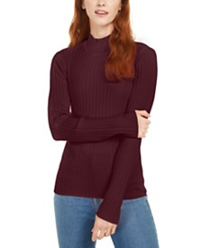 Maison Jules Ribbed Mock-Neck Top, Created for Macy's