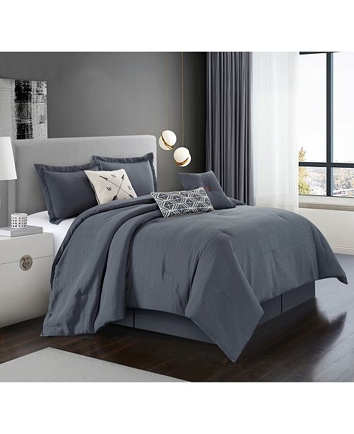Chandler 7-Pc. Grey Queen Comforter Set