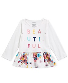 First Impressions Baby Girls Beautiful-Print Cotton Peplum T-Shirt, Created for Macy's