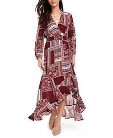 Juniors' Printed Surplice Maxi Dress, Created for Macy's