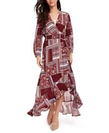 American Rag Juniors' Printed Surplice Maxi Dress, Created for Macy's