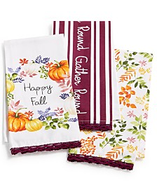 Martha Stewart Collection Harvest Kitchen Towels, Set of 3, Created For Macy's