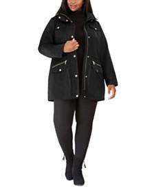 Michael Michael Kors Plus Size Hooded Anorak Raincoat, Created for Macy's