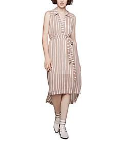 Striped High-Low Shirtdress