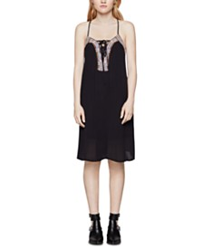 BCBGeneration Embroidered Lace-Up A-Line Dress