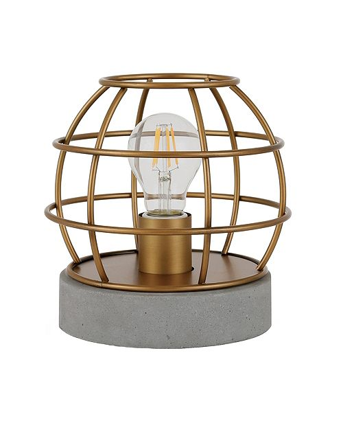 Hudson & Canal Kennet Table Lamp With Antique Brass Cage And Concrete Pedestal