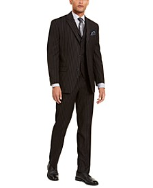 Men's Classic-Fit Stretch Black Pinstripe Suit Separates