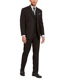Sean John Men's Classic-Fit Stretch Black Pinstripe Suit Separates