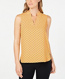 Printed Split-Neck Top