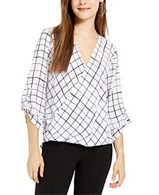 Juniors' Printed High-Low Surplice Top