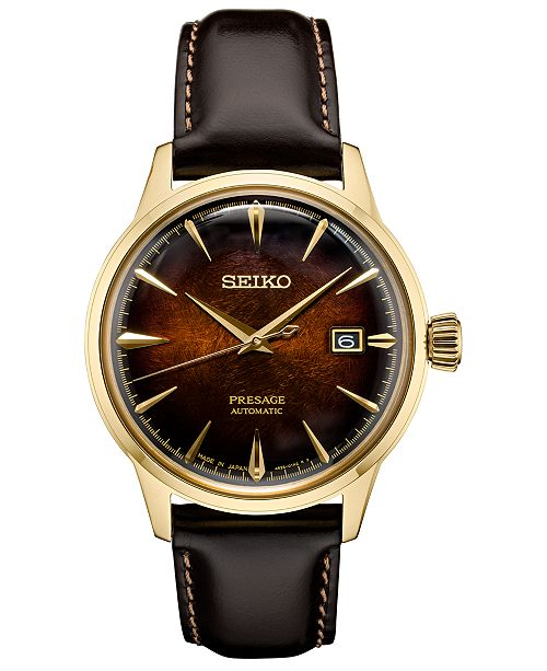 Seiko Men's Automatic Presage Brown Leather Strap Watch 40.5mm, A Limited Edition
