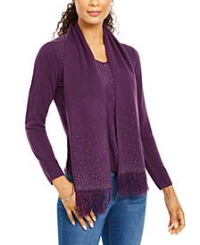 Petite Embellished Sweater & Scarf, Created for Macy's