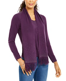 Karen Scott Petite Embellished Sweater & Scarf, Created for Macy's