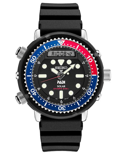 Seiko Men's Solar Analog-Digital Prospex Divers Black Silicone Strap Watch 47.8mm