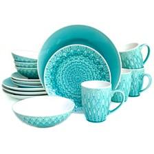 Euro Ceramica Peacock 16 Piece Dinnerware Set