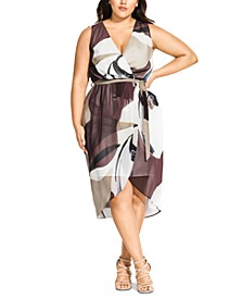 Trendy Plus Size Printed Wrap Dress