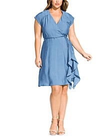 Trendy Plus Size Ruffled Faux-Wrap Dress