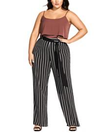 City Chic Trendy Plus Size Striped Palazzo Pants