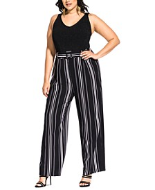 Trendy Plus Size Belted Palazzo Pants