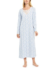 Cotton Plus Size Lace-Trim Printed Nightgown, Created for Macy's