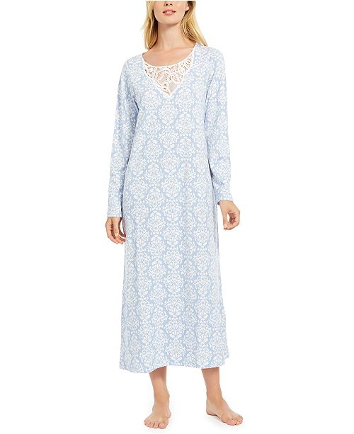 Charter Club Cotton Plus Size Lace-Trim Printed Nightgown, Created for Macy's