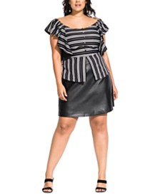 City Chic Trendy Plus Size Striped Baby Top