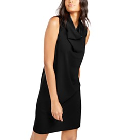 Anne Klein Cowlneck Crepe Sheath Dress